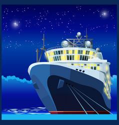 ocean liner at night vector image vector image