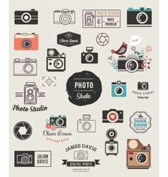 Photographer cameras photo studio icons set vector image vector image