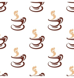 Seamless background pattern of steaming coffee vector