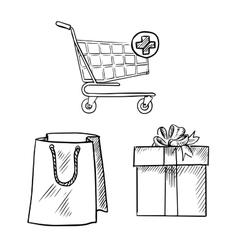 Shopping cart gift box and shopping bag sketches vector image vector image