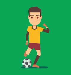 soccer player kicking ball on green field vector image