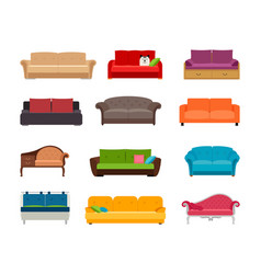 Sofa colored set comfortable couch vector