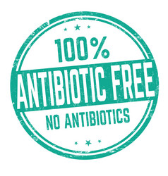 100 antibiotic free sign or stamp vector