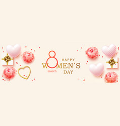 8 march womens day horizontal banner vector image