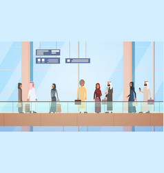 Arab traveler people airport hall departure vector