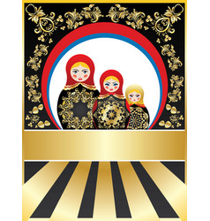 background with matryoshka dolls vector image