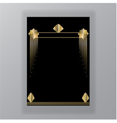 beautiful art deco techno golden black page vector image
