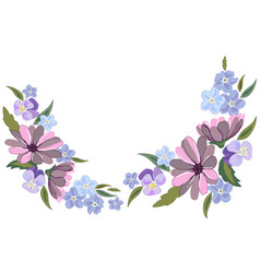 beautiful violet and nots flowers on white vector image