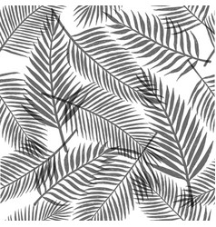 Black and white tropical leaves background vector