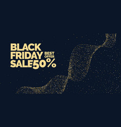 Black friday sale banner with gold glitter vector