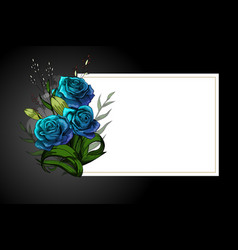 Blue flower bouquet on white frame with black vector