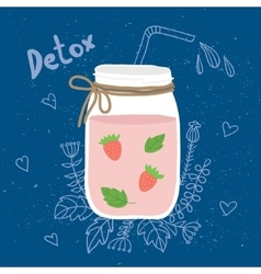 Bottle smoothie with mint strawberries Detox and vector