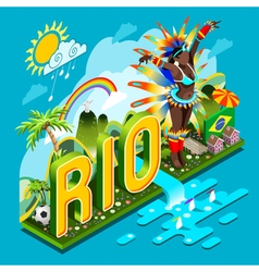 Brasil Rio Summer Infographic Isometric 3D vector image