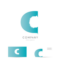 c blue letter alphabet logo icon design vector image