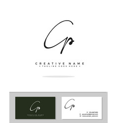 C p cp initial logo signature handwriting vector