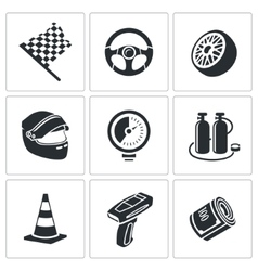 Car racing and pumping Icons Set vector image