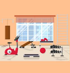 cartoon interior inside home gym with window vector image