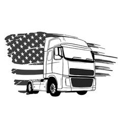 cartoon semi truck design art vector image