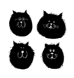 Cat and dogs faces silhouette sketch for your vector