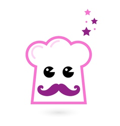 Chef pink hat mascot isolated on white vector image