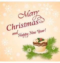 christmas card with cupcake vector image
