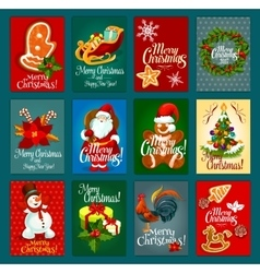 Christmas Day greeting card set for festive design vector image