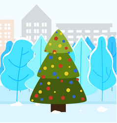 christmas fir tree in city park decorated spruce vector image