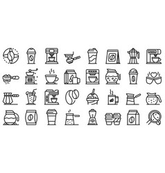 coffee icons set outline style vector image
