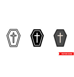 coffin icon 3 types isolated sign vector image