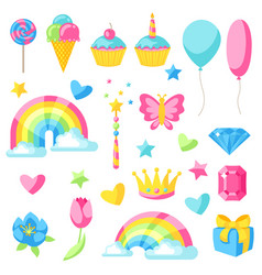 Collection fantasy and birthday party items vector