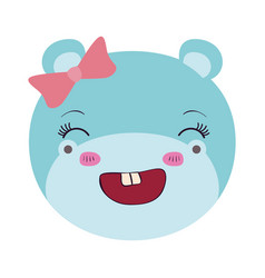 Colorful caricature face female hippo animal vector