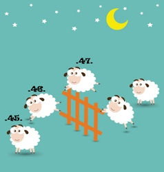 Counting Sheep Jumping Over Fence vector