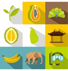 Country Sri Lanka icons set flat style vector