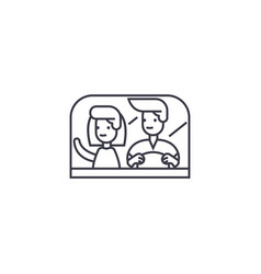 Couple driving away line icon sign vector