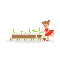 Cute little girl learning about plants during vector