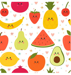 cute seamless pattern with cartoon fruits vector image