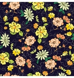 Dark Background Kimono Gold Flowers vector