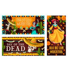 day dead or dia de los muertos skeletons vector image