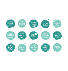eco food label fresh and healthy food quality vector image