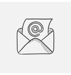 Email envelope with paper sheet sketch icon vector image
