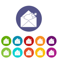 Envelope with bomb set icons vector