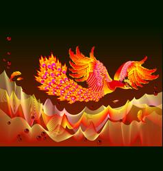Fantasy fire-bird flying between flame waves vector
