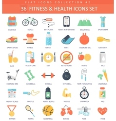 Fitness and health color flat icon set vector