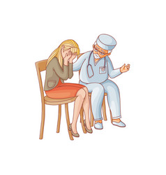 Flat doctor calming down crying woman vector