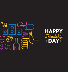 Friendship day web banner social party icons vector