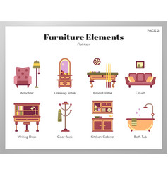 Furniture elements flat pack vector