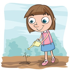 girl watering plant vector image
