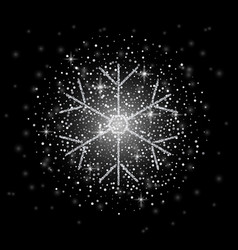 glitter covered silver snowflake with on vector image