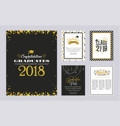 Graduation class of 2018 greeting card and vector