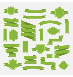 Green ribbons and label set in flat stylePart III vector